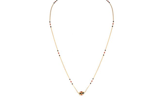 Glossy Finish Multicolour Stone Drop Gold Beads With Ememal Gold Mangalsutra - PGM00086