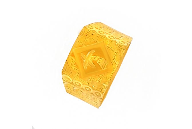 Traditional Engraved Textured Gold Ring
