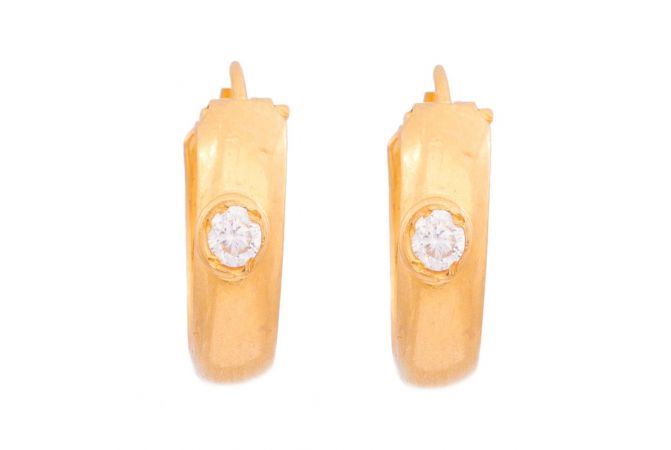 Glossy Finish Plain Rounded Hoop Design With Studded CZ Gold Earrings
