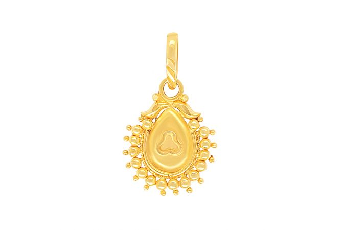 Traditional Embossed Drop Gold Pendant