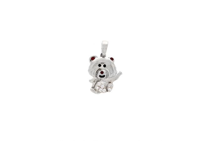 Charm Swarovski Diamond Teddy Bear Pendant