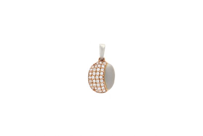 Delightful Oval Swarovski Diamond Two Tone Pendant
