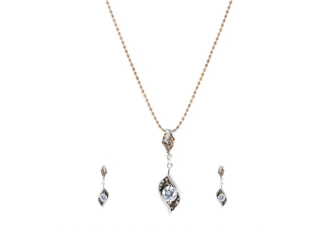 Fire Drop Italian Silver Pendant Set - PS003