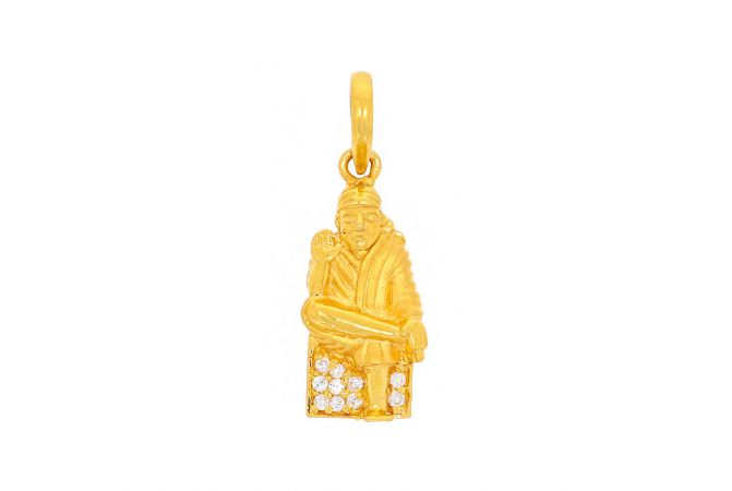 Glossy Finish Lord Sai Baba In Sitting Position With Studded CZ Gold Pendant