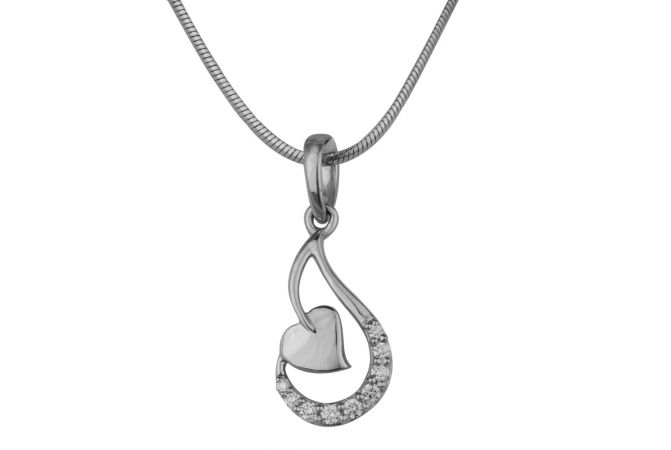 Satin Finish Curved Twisted Heart Studded With CZ Platinum Pendant-PTPN-4