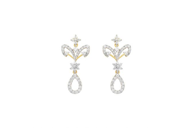 Sparkling Pave Prong Set Floral Diamond Earrings