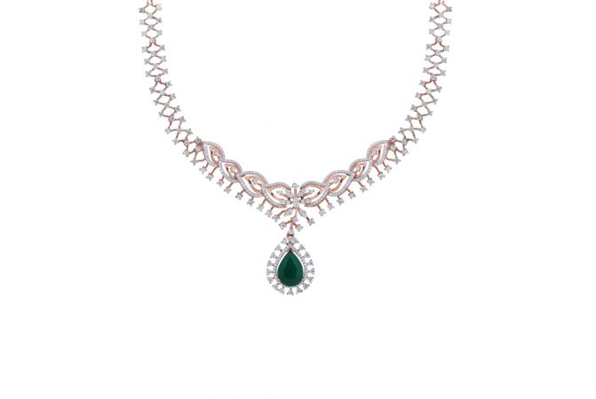 Sparkling Floral Drop Design With Synthetic Colour Stone Studded Diamond Necklace