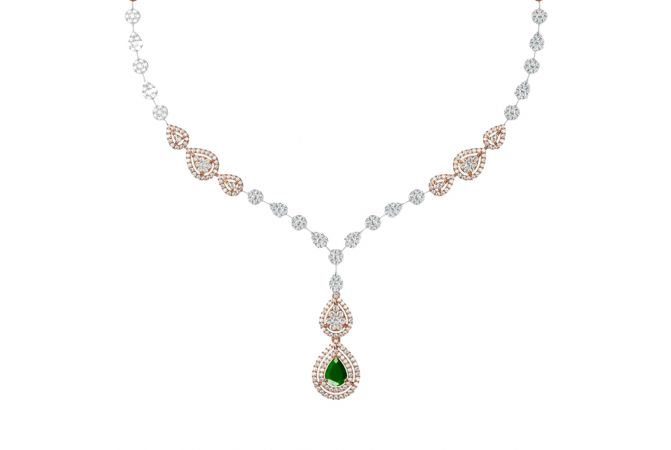 Sizzling Drop Design With Synthetic Colour Stone Studded Diamond Necklace