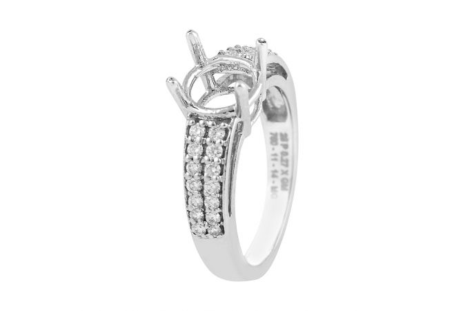 Cluster Diamond Solitaire Rhodium Mounting Ring - RD52
