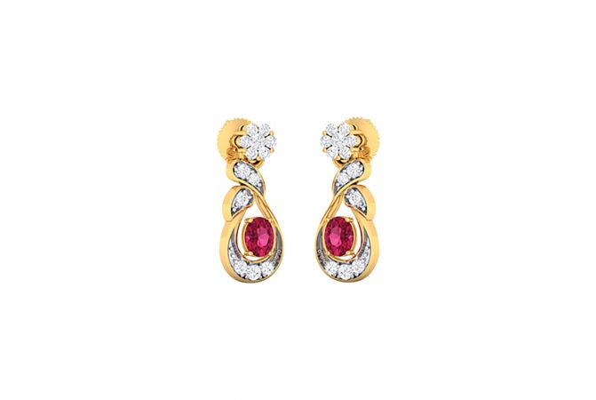 Glittering Floral Twist Design With Synthetic Colour Stone Studded Diamond Earrings