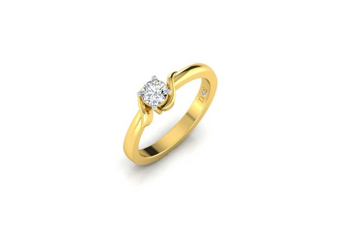 Glossy Finish Curved Solitaire Diamond Ring