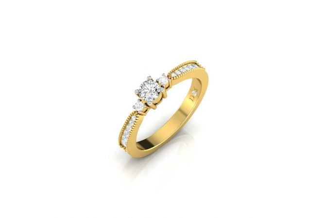 Pave Set Cluster With Three Solitaire Diamond Ring