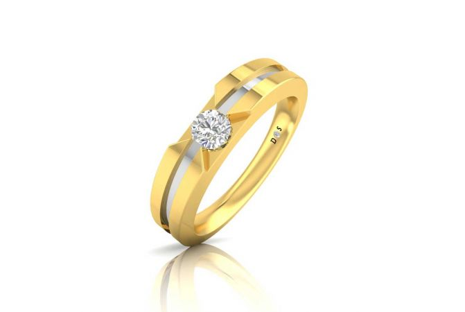 Glossy Finish Rhodium Polish Grooved Design Solitaire Band Ring For Her