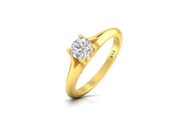 Glossy Finish Four Prong Set Solitaire Ring