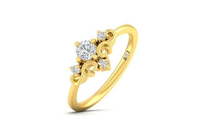 Elegant Curved Design Prong Set Solitaire With Side Diamond Ring