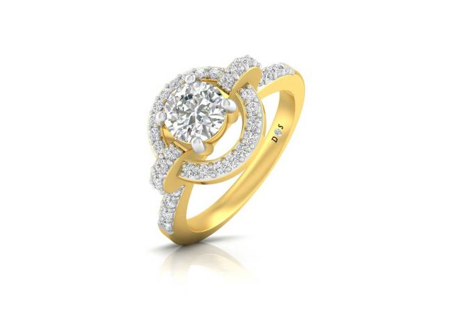 Halo Crown Design Prong Set Solitaire With Side Diamond Ring
