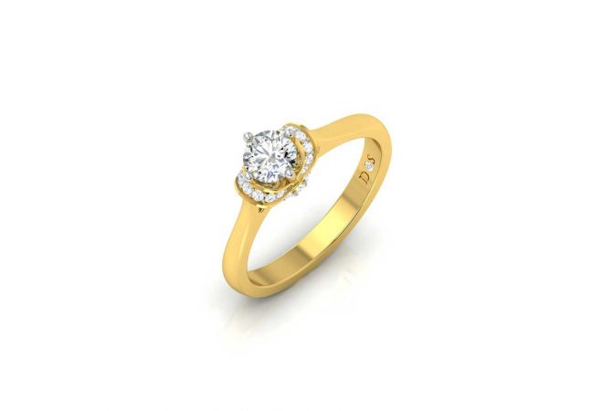 Crown Design Pave Prong Set Solitaire Diamond Ring