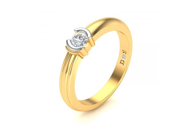 Gold Bracket Women's Solitaire Ring