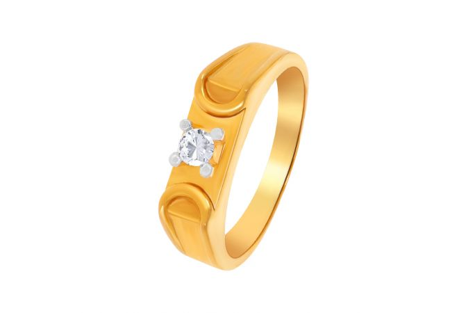 Solitaire Men's Gold Ring