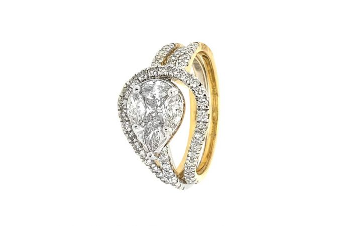 Dazzling Pave Prong Pear Princess Cut Curved Design Diamond Ring