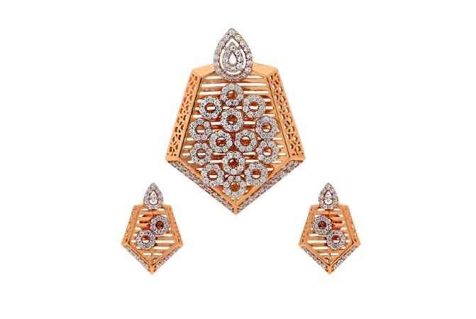 Glossy Finish Pearl Drop Round Design With Studded CZ Rose Gold Pendant Set