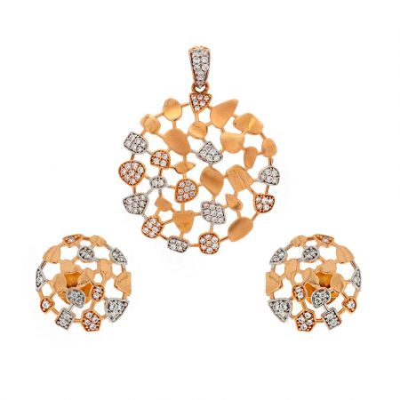 Glosy Matte Finish Cocktail Hollow Dome Design With Studded CZ Rose Gold Pendant Set
