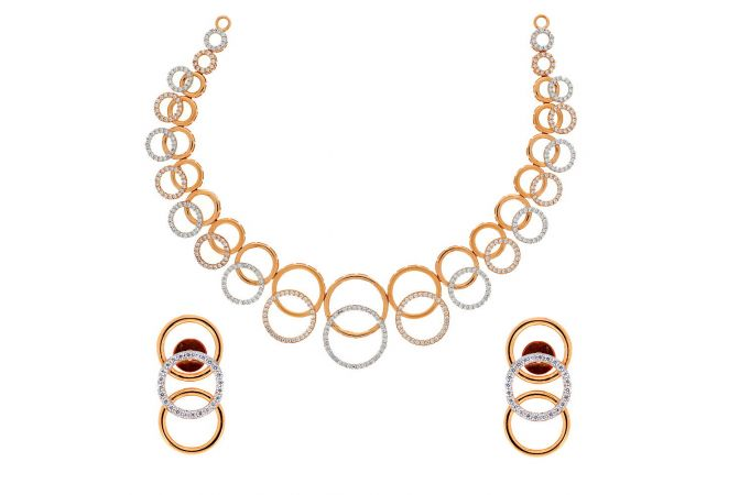 Glossy Finish Overlapping Circle Link Design With Studded CZ Rose Gold Necklace Set