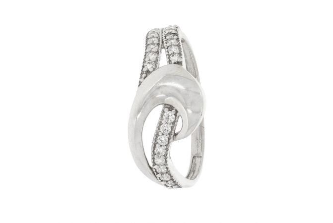 Glossy Finish Curved Two Way Design With Studded CZ White Gold Ring