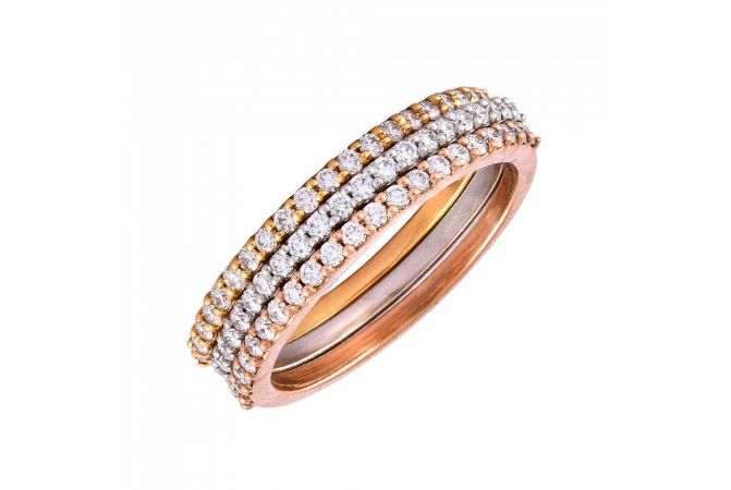 Sparkling Three Tone Diamond Band