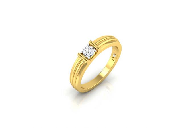 Glittering Four Prong Set Solitaire Diamond Mens Ring