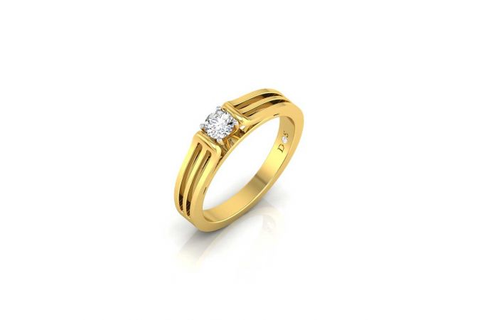 Glittering Solitaire Four Prong Set Mens Diamond Ring