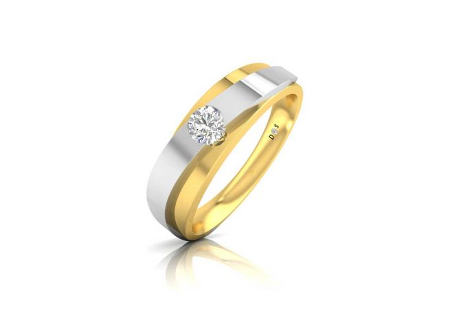 Rhodium Polish Grooved Design Solitaire Band Ring For Him