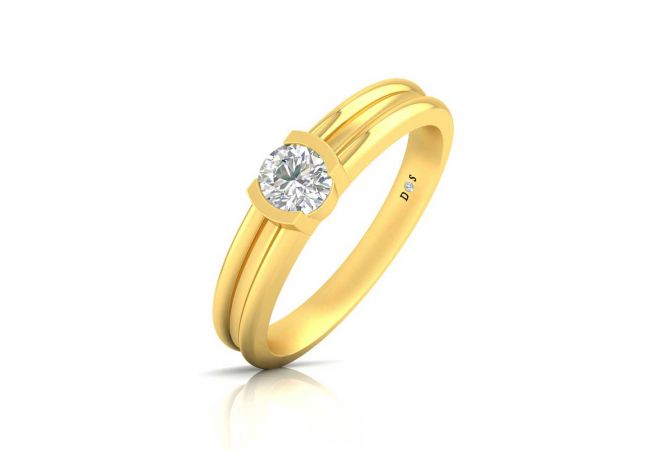 Dome Grooved Bezel Set Solitaire Mens Ring