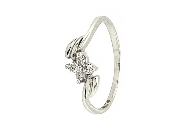 Sparkling Floral Twisted Design White Gold Diamond Ring