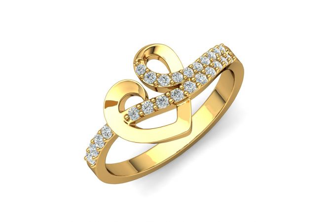 Connecting Heart CZ Curved Design Studded Gold Ring