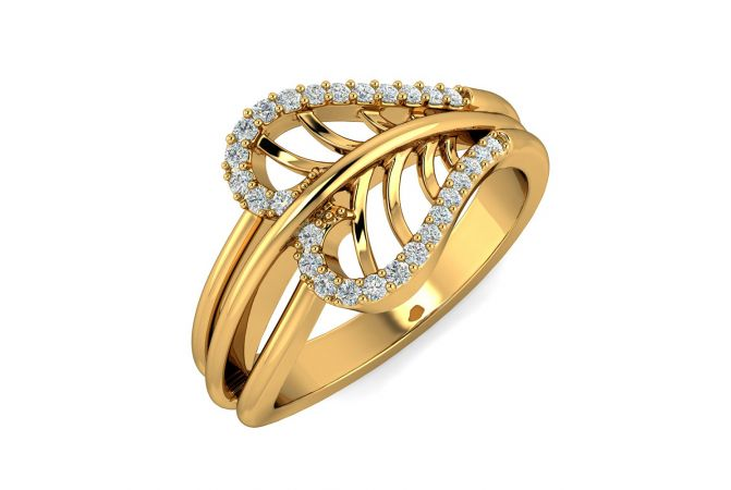 Dazel Curvy Leaf Design CZ Studded Gold Ring