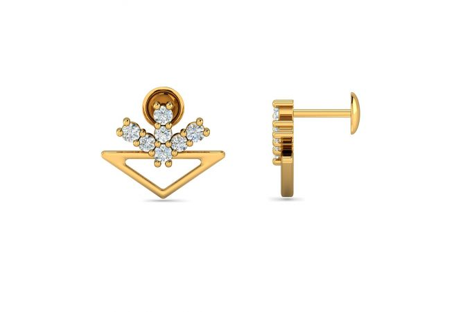 Glint Geometrical Design With CZ Studded Gold Earrings