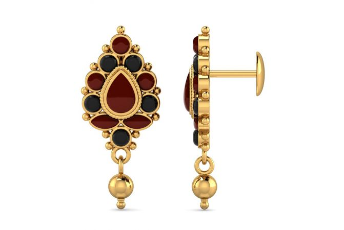 Traditional Drangler Design With CZ Studded Gold Earrings