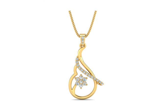 Elegant Swirl Floral Design With CZ Studded Gold Pendant