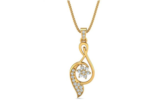 Delicate Twirl Design With CZ Studded Gold Pendant