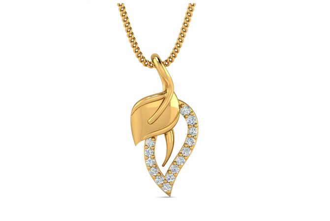 Glossy Finish Leafy Design With CZ Studded Gold Pendant