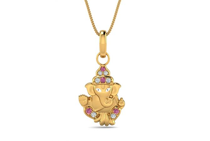 Elegant CZ With Colour Stone Studded Lord Ganesha Gold Pendant