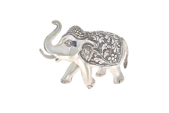 Antique Silver Elephants For Interior Decor (Set Of Two)