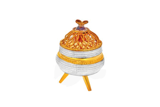 Silver Gold Finish Kumkum Box With Stand
