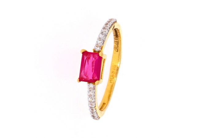 Glossy Finish Single Line With Synthetic Ruby CZ Studded Gold Ring-SLR209
