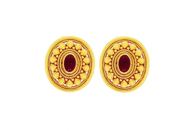 Ceremonial Dome Synthetic Ruby Stud Gold Earrings
