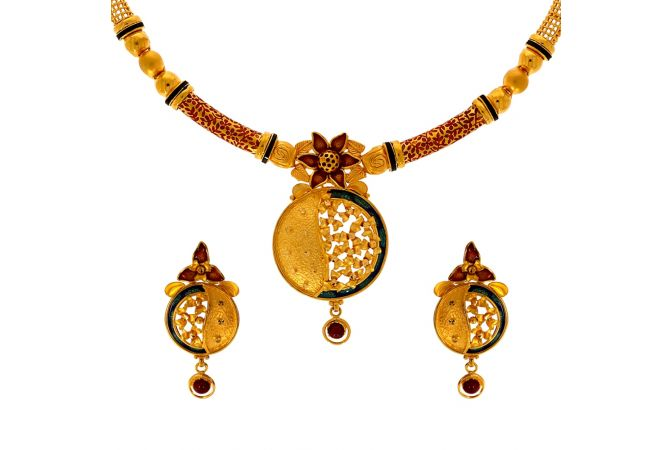 Enhanced Enamel Floral Leaf Gold Necklace Set