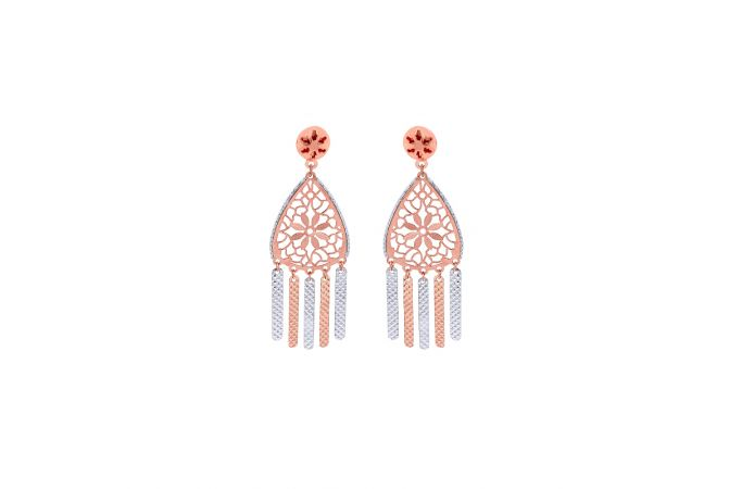 Stylish Textured Cutout Gold Earrings