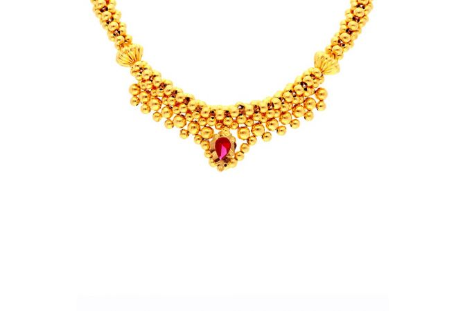 Glossy Finish Pear Pink Stone Engraved Design Gold Ball Thushi Necklace -TH193