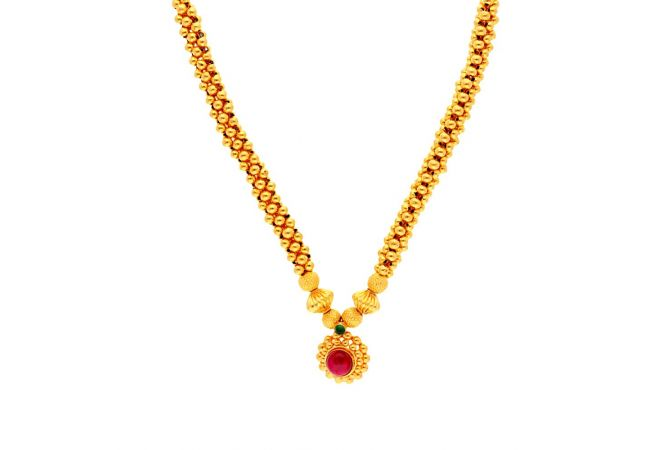 Glossy Finish Pink Stone Studded Floral Design Gold Ball Thushi Necklace -TH246